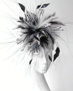 White and Black fascinator hat by Hatsbycressida, $100.00