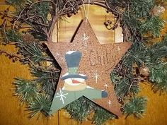 Primitive Star Hand Painted Snowman Chilly Country Christmas
