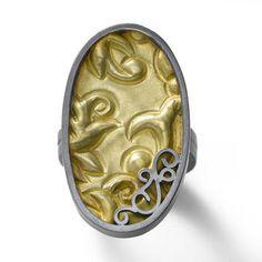 Oval Brocade Ring by Designer Natasha Wozniak, SS and 18K