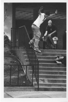 mike carroll lays down a proper backside smith grind with ty evans capturing the line. l.a. circa late 90s. mike has always