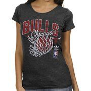 adidas Chicago Bulls Ladies Originals Nice Shot Too Cap Sleeve Fitted T-Shirt - Black