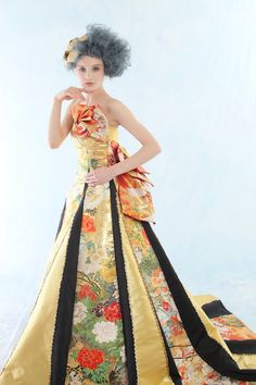 Botan wedding dress made of kimonos by Aliansa. Without the intricate front piece can be worn for other occasion