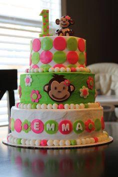 Girl Monkey Birthday, Girls First Birthday Cake, Monkey Birthday Parties, Monkey Girl, 2nd Birthday, Birthday Cake Roses, Cool Birthday Cakes, Birthday Ideas, Girl Cakes