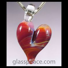 Pink Glass Heart Pendant - Lampwork Focal Bead by Glass Peace $10.95
