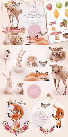 The Beautiful Forest Clipart woodland animal cute baby image 2 Clipart, Super Cute Animals, Beautiful Forest, Watercolor Illustration, Dragon Illustration, Family Illustration, Woodland Animals, Illustrations, Cute Babies