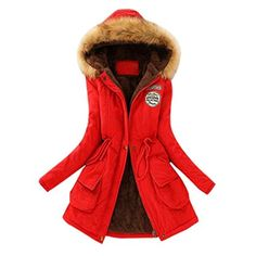 Syban Clearance!Womens Warm Long Coat Fur Collar Hooded Jacket Slim Winter Parka Outwear Coats(Small,Red) Best Winter Coats for Women USA Long Quilted Coat, Quilted Jacket, Ladies Hooded Coats, Fur Collar Jacket, Hooded Jacket, Hooded Parka, Best Winter Coats, Long Winter, 2016 Winter