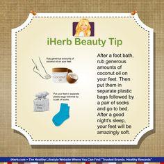 iHerb Beauty Tip ~ Moisturizing your feet using coconut oil