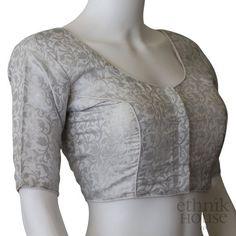 Readymade brocade plus size silk blouse – Ethnikhouse Brocade Blouse Designs, Cotton Saree Blouse Designs, Blouse Back Neck Designs, Fancy Blouse Designs, Blouse Patterns, Dress Designs, Wedding Lehenga Designs, Fashion Wear, Fashion Dresses