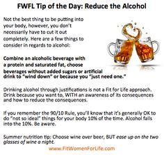 Reduce the Alcohol. http://fitwomenforlife.com/