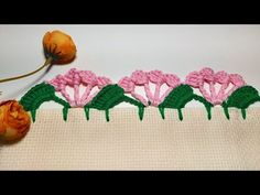 Bico de crochê #facil - YouTube Crochet Edging Patterns, Crochet Lace Edging, Crochet Basket Pattern, Crochet Borders, Crochet Designs, Crochet Flowers, Stitch Patterns, Broderie Simple, Hand Painted Fabric