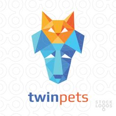 Logo design of an abstract low poly orange cat head and blue dog head. Related…