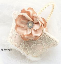 Flower Girl Basket  Lace Bridal Basket in Ivory and by SolBijou, $90.00