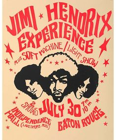 An original printer's proof of a concert poster for Jimi Hendrix Experience and Soft Machine Light Show at Independence Hall, Baton Rouge, Louisiana on July 1968 - by Rock Legends LTD Psychedelic Rock, Psychedelic Posters, Tour Posters, Band Posters, Event Posters, Vintage Concert Posters, Vintage Posters, Cultura Pop, Affiche Jimi Hendrix
