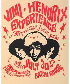 Jimi Hendrix Experience 1968 Baton Rouge Poster