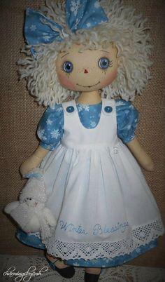 Winter Blessings Annie by charmingsbycmh Diy Yarn Doll Hair, Yarn Dolls, Knitted Dolls, Fabric Dolls, Scarecrow Doll, Doll Patterns, Henna Patterns, Felt Baby, Doll Tutorial