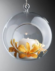 """Hanging Glass Ball Candle Holders 5"""" (Set of 2)"""