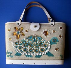 RETRO FUNKY  60'S ENID COLLINS BUCKET HANDBAG PURSE SLOW POKE JEWELED X-X COND!!