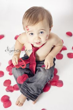 valentine mini session portraits with red rose and kisses Elizabeth Videc Photography