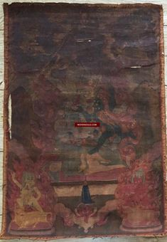 Fine Antiques & Art from WOVENSOULS - Singapore  1111 Antique Buddhist Thangka Painting Art - 18th century, Mongolia  This simple Thangka de-accessioned by a monastery in Mongolia is estimated to be from the 18th century. The top half was probably exposed to the incense and vapors of lamps in the monastery more than the bottom half and the painting is not easily visible as a result. But we can see that the dye or pigment used in the figure in the top left corner (pic 6) has oxidised…