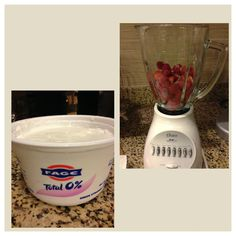 Homemade Chocolate Strawberry Frozen Yogurt 2 C Fage Fat Free Greek Yogurt Strawberries 5 Packets Stevia in the Raw 4 Tbsp Ghirardelli Unsweetened Cocoa Powder 1 Capful Vanilla Extract Blend well, freeze, enjoy! Makes 2 servings under 200 calories each. Healthy Frozen Yogurt, Strawberry Frozen Yogurt, Homemade Greek Yogurt, 200 Calories, Unsweetened Cocoa, Homemade Chocolate, Clean Eating, Healthy Eating, Healthy Desserts