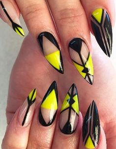 Neon yellow black clear stiletto nails @nailsbydalenaa