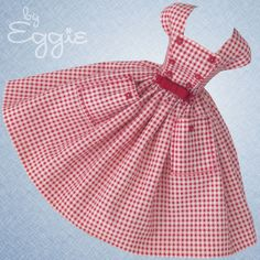 Cheeky Check -Vintage Barbie Doll Dress Reproduction Repro Barbie Clothes