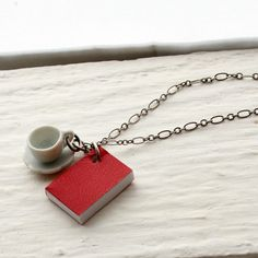 Book and Tea Cup Necklace Red Book Necklace Miniature by BeanDoll, $18.00