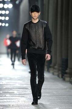 NEIL BARRETT AW13 MENSWEAR, mens style, mens trends, urban luxe, textured jumpers, black on black, sweater