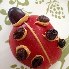 apple and raisin ladybug snack