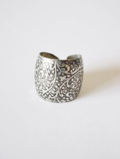 floral etched out ring made with recycled metal