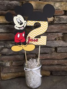 Items similar to Mickey Mouse Centerpiece Birthday Party Decorations Mickey Birthday Decor Center Piece Happy birthday First Second on Etsy Festa Mickey Baby, Mickey Mouse Party Decorations, Mickey 1st Birthdays, Fiesta Mickey Mouse, Theme Mickey, Mickey Mouse Clubhouse Birthday Party, Mickey Mouse Parties, Minnie Birthday, Mickey Party