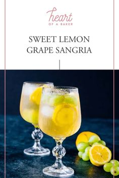 Are you looking for an easy cocktail recipe? Click through and find out how to make this Sweet Lemon Grape Sangria! Spring Cocktails, Easy Cocktails, Cocktail Drinks, Grape Recipes, Sangria Recipes, Cocktail Recipes, Easy Alcoholic Drinks, Drinks Alcohol Recipes, Sweet White Wine
