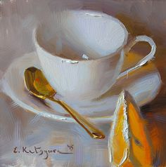 White Cup and Orange by Elena Katsyura Oil ~ 6 x 6