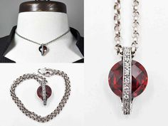 Vintage Sterling Silver Red Garnet Pendant Necklace, Faceted, Clear Tourmaline, Rolo Chain, Belcher, Unique, Beautiful! #c375 c385