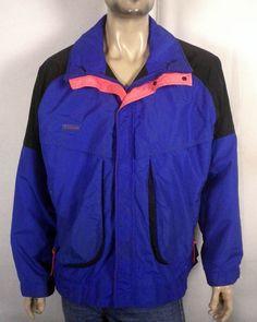 vtg 80s 90s euc Columbia loud neon colorblock windbreaker jacket lined men's L #Columbia #Windbreaker