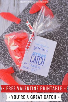 This Free Valentine Printable Card, You're A Great Catch Is A Fun Sweet Treat With Swedish Fish Or Use Goldfish Crackers For A Healthy Valentine Treat At Class Parties. Through Thriftynwmom Valentines Day Food, Homemade Valentines, Valentine Treats, Valentines For Kids, Valentine Day Crafts, Valentine Stuff, Printable Cards, Printable Valentine, Free Printables