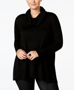WHITESPACE Trendy Plus Size Split-Back Sweater   macys.com