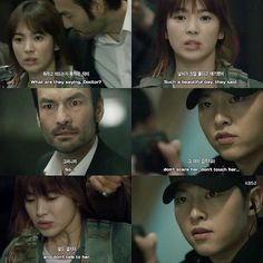 Instagram media by descendantsots - Descendants of The Sun - Episode 12 ☀️ ------------------------------------------- Sijin talked to his team in Korean Language. Argus asked Moyeon what was Sijin talking about but Moyeon answered that with nonsense. Argus pointed out his gun to Moyeon's head. Sijin couldn't take that and shoot Argus's gun. He told him to not scare, touch or talk to Moyeon. GAWDDD CAPTAIN