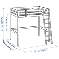 A loft bed is perfect when you need to combine several functions in a small space. Loft Beds For Small Rooms, Loft Beds For Teens, Double Loft Beds, Ikea Loft, Build A Loft Bed, Loft Bed Plans, Cama Ikea, Ikea Bed, Loft Bed Frame