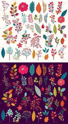 Big collection: Flowers & Cat by MoleskoStudio on @creativemarket