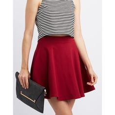 Charlotte Russe Ponte Knit Skater Skirt ($17) ❤ liked on Polyvore featuring skirts, wine, high waisted flared skirts, high waisted flare skirt, red skirt, high-waisted skater skirts and high waist skirt