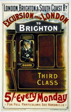 Vintage London Hastings & Eastbourne Brighton Railway Travel Tourism Poster Re-Print Wall Decor Posters Uk, Train Posters, Railway Posters, Retro Posters, Vintage Advertisements, Vintage Ads, Vintage Style, Orient Express Train, London Brighton