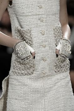Chic dress with pearl embellished pocket detail and pearl cluster buttons; elegant fashion details // Chanel Spring 2014