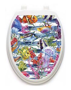Toilet Tattoos Sealife  Galore  Lid Cover  Decor Silver Reusable Vinyl 1119 #ToiletTattoos