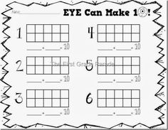 Making 10 recording sheet with hands-on making 10 with eyeballs and 10 spot ice cube trays Math Classroom, Kindergarten Math, Classroom Supplies, Preschool Math, Classroom Ideas, Literacy And Numeracy, Math Centers, Math For Kids, Fun Math