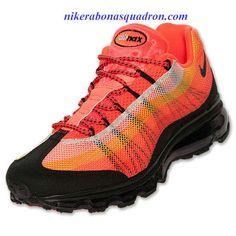 65c64a5a64a7 Nike Air Max 95 Dynamic Flywire Mens Total Crimson Black Total Orange  554715 838 Orange Sneakers