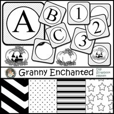 """Free Digital Scrapbook Kit: """"Ween 13"""" Black and White Alphabet Pack with pumpkin stamps ⊱✿-✿⊰ Join 5,400 others. Follow the Free Digital Scrapbook board for daily freebies. Visit GrannyEnchanted.Com for thousands of digital scrapbook freebies. ⊱✿-✿⊰"""