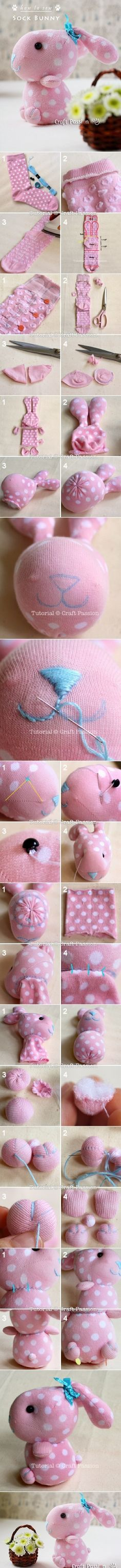 Sewing Tutorials DIY Sock Bunny Sewing Tutorial - I absolutely can not imagine this cute bunny is done with socks, I amazed of human creativity, with this kind of bunny to sleep, or watching it smiled at Kids Crafts, Sock Crafts, Cute Crafts, Easter Crafts, Fabric Crafts, Craft Projects, Sewing Projects, Kids Diy, Crafts With Socks