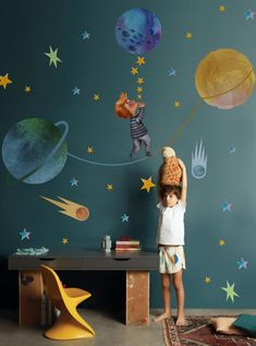 Little Boy with Blue Yellow Stars on the Outer Space with Blue Yellow Stars Wall Decal Sticker. Easy to remove, peel n stick, expedited shipping! Outer Space Crafts, Outer Space Party, Outer Space Theme, Boys Space Bedroom, Outer Space Bedroom, Kids Room, Boy Bedrooms, Outer Space Decorations, Blue Wall Colors