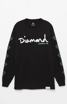 Keep your skater style classic on top in this sick look provided by Diamond Supply Co tee. The OG Script Long Sleeve T-Shirt has a crew neck, a woven label on the hem, and a bold Diamond Supply Co graphic printed across the chest.    Solid premium tee  Diamond Supply Co graphic on front  Woven label on hem  Crew neck  Long sleeves  Ribbed neck and cuffs  Machine washable